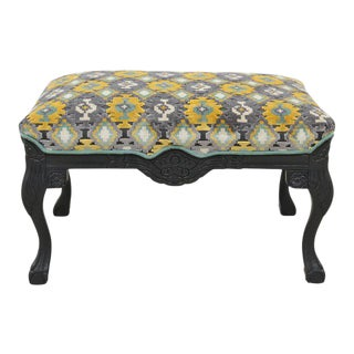 Newly Upholstered Carved Ottoman in Gray, Yellow & Teal For Sale