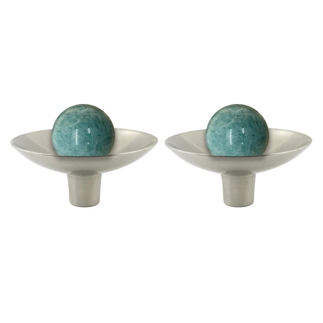 Not Yet Made - Made To Order Addison Weeks Gibson Knob, Pewter & Amazonite - a Pair For Sale - Image 5 of 5