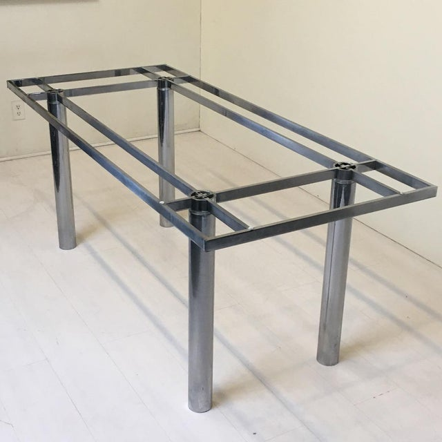 """Sleek, sexy chrome """"Andre"""" dining table from designer Tobia Scarpa for Knoll. Very sturdy design. It's in good condition..."""