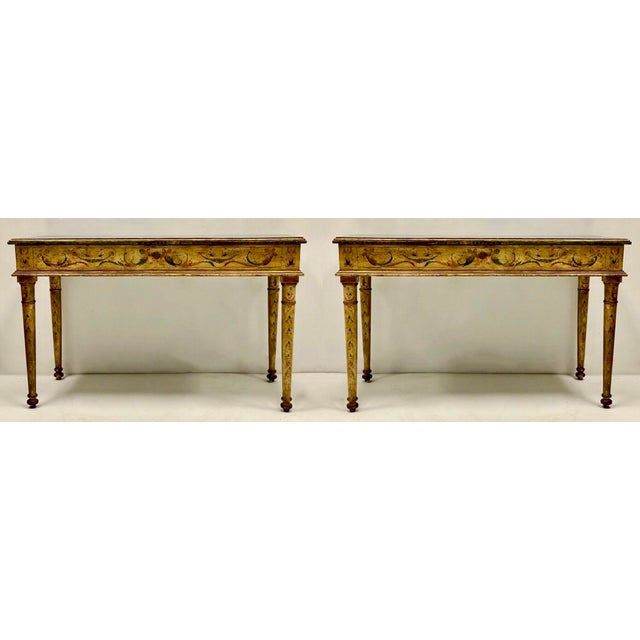 Pair of French Style Painted Marble Top Console Tables For Sale In Atlanta - Image 6 of 6