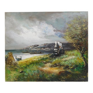 20th Century French Seascape Oil Painting on Canvas Signed Brittany Bigoudene For Sale