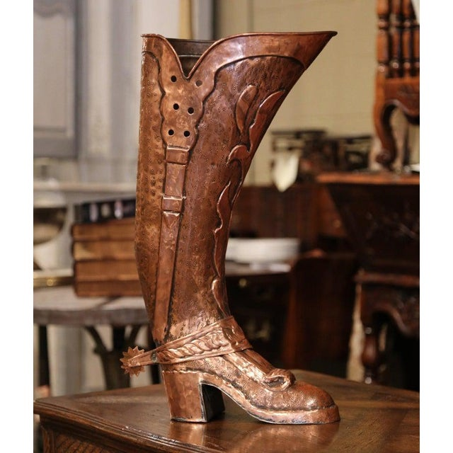 Early 20th Century French Polished Repousse Copper Boot Umbrella Stand For Sale In Dallas - Image 6 of 6