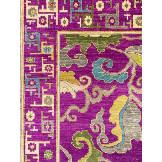 "Textile Exotic Fuschia Chinese Design Rug, 8' X 10'3"" For Sale - Image 7 of 12"