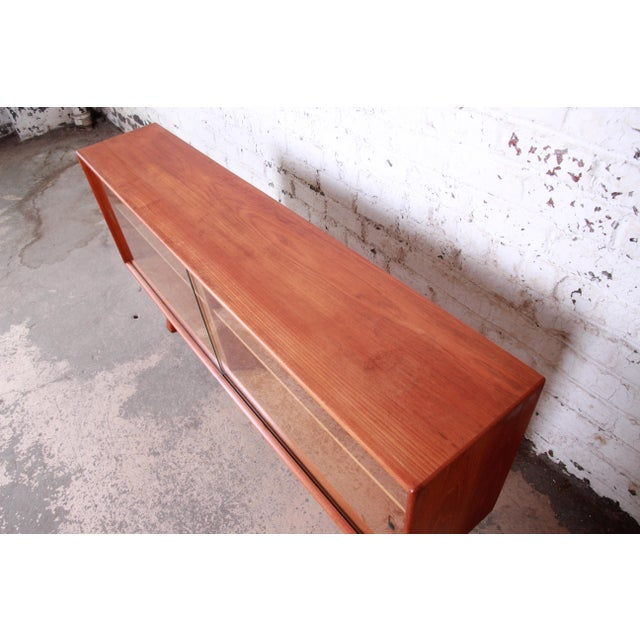 Glass Danish Modern Teak Glass Front Credenza or Bookcase For Sale - Image 7 of 12