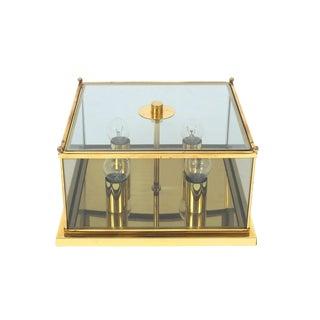 Rectangular Art Deco Brass and Glass Flush Mount For Sale