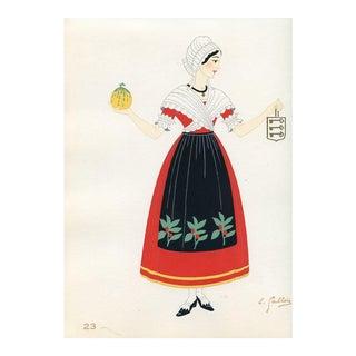 1930s, French Provincial Costumes -Comtat Venaisson, Original Pochoir Print For Sale