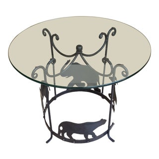 20th Century Figurative Hand Crafted Iron Carousel Side Table For Sale