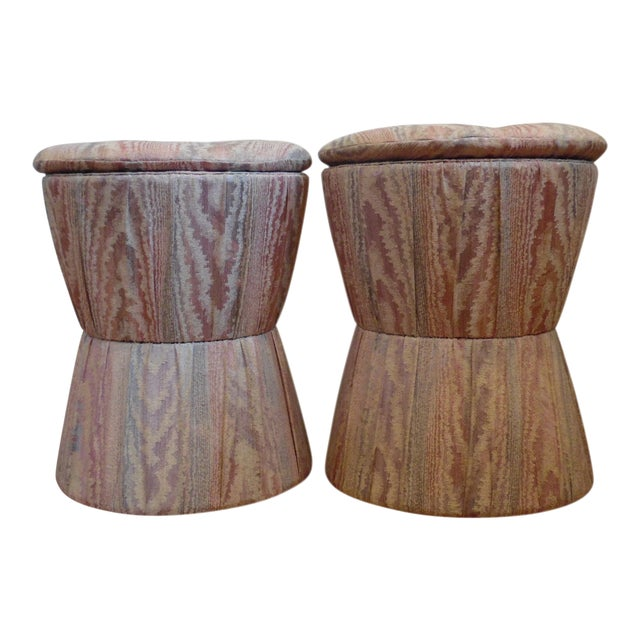 1980s Vintage Upholstered Stools- A Pair For Sale