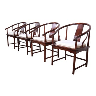 Michael Taylor for Baker Hollywood Regency Chinoiserie Walnut Horseshoe Armchairs - Set of 4 For Sale