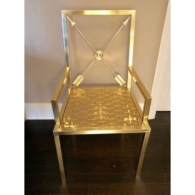 Glimmering Show Stealer Heavy Brass Neoclassical Armchairs by Mastercraft For Sale In Philadelphia - Image 6 of 12