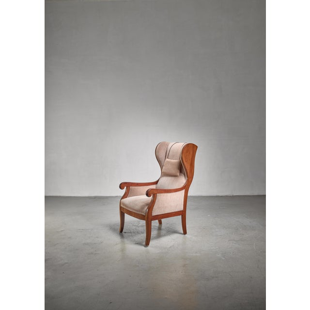 Mid-Century Modern Frits Henningsen Wingback Lounge Chair, Denmark For Sale - Image 3 of 6