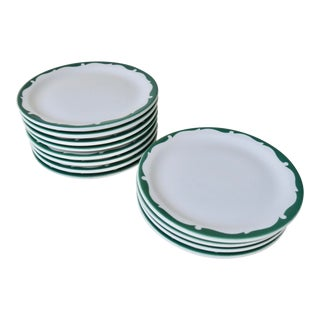 Vintage Shenango China Everglade Green and White Restaurant Ware Small Salad Plate Set of 12 For Sale