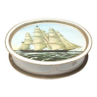 Vintage Nautical Clipper Ship Large Tin Box and Tray For Sale