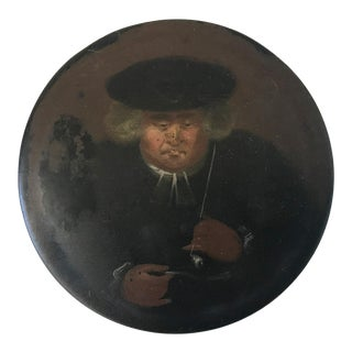 Antique French Revolutionary Papier Mache Round Tobacco Snuff Box With Portrait of a Priest Smoking a Pipe For Sale