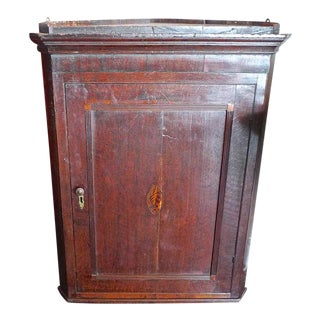 English 18th Century Oak Corner Wall Cabinet With Small Inlay and Two Shelves For Sale
