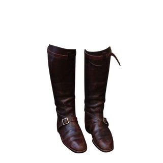 Vintage English Polo Boots With Wooden Stretchers - a Pair For Sale