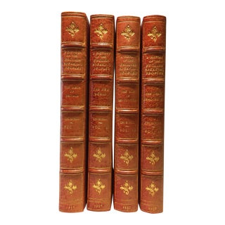 Mid-20th Century Vintage English Leather Books, Churchill's English Speaking Peoples, 1st Edition - Set of 4 For Sale