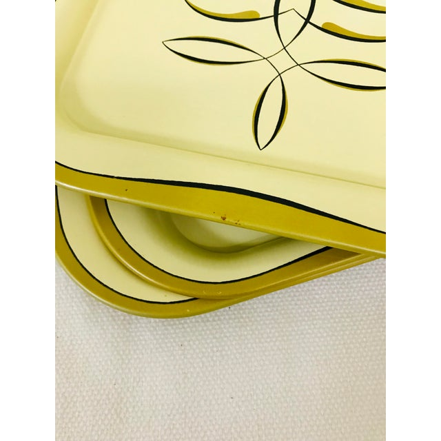 1950s 1950s Vintage Regency Style Metal Snack Trays - Set of 6 For Sale - Image 5 of 6