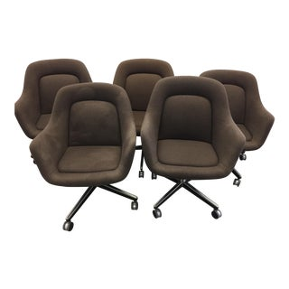 1980s Knoll Brown Upholstered Swivel Office Chairs - Set of 5 For Sale