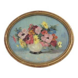 Oval Oil Floral Painting by A. Dandiran