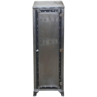Tall Industrial Brushed Steel Locker For Sale