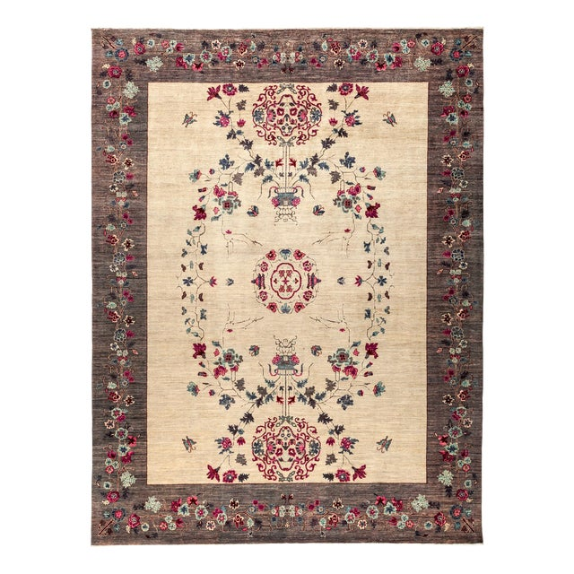 """New Hand Knotted Area Rug - 9'2"""" x 12'1"""" For Sale"""