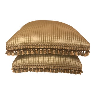 Silk Decorative Pillows With Tassel Fringe - a Pair