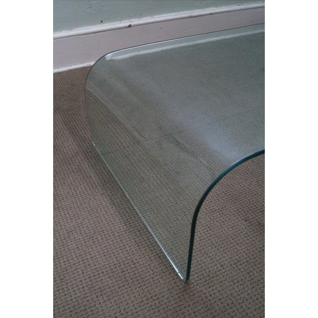 Mid-Century Modern Mid-Century Curved Waterfall Glass Coffee Table For Sale - Image 3 of 10