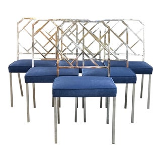 1960s Mid-Century Modern Milo Baughman for DIA Chrome Lattice Back Dining Chairs - Set of 6 For Sale