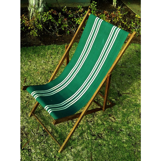 Mid-Century Modern Vintage Wood & Canvas Folding Beach Deck Chair For Sale - Image 3 of 7