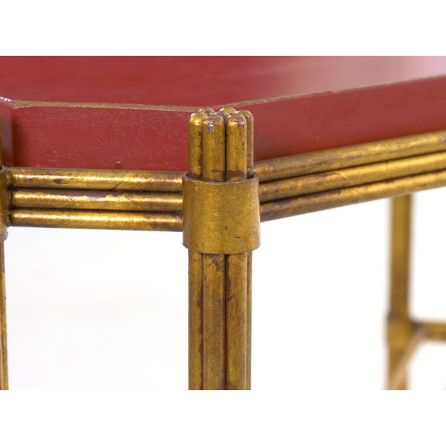 Red Vintage Gilt Iron Cocktail Table With Red-Painted Wooden Tray, 20th Century For Sale - Image 8 of 13