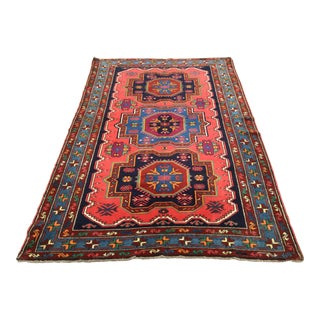 "1950s Turkish Anatolian Geometric Design Rug - 7'1""x 4'9"" For Sale"