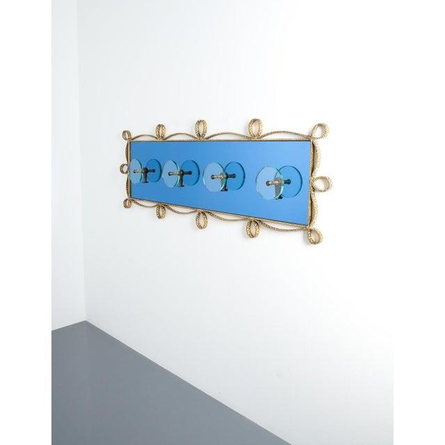 Glass Pierluigi Colli Coatrack Wall Wardrobe Iron Blue Glass Mirror, Italy 1950 For Sale - Image 7 of 10