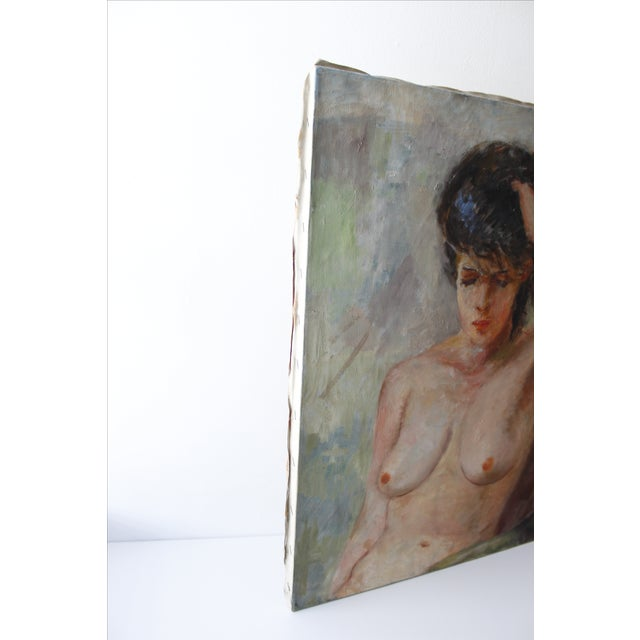 Vintage Walt Litt Oil Painting Nude Woman Portrait - Image 6 of 8