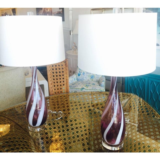 Vintage Murano Glass Italian Table Lamps, 1950s - A Pair For Sale - Image 9 of 11