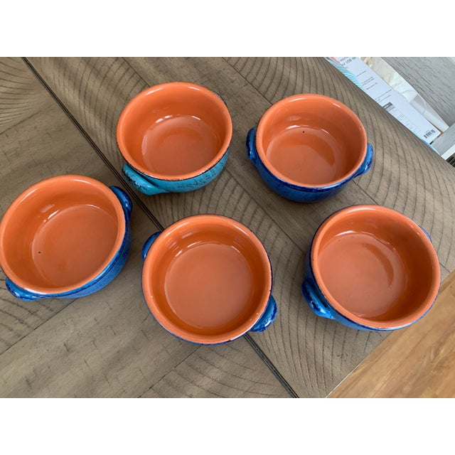 Vintage DeSilva rustic painted and glazed terra cotta soup cereal bowls with handles. Set of 5, four are the same color...