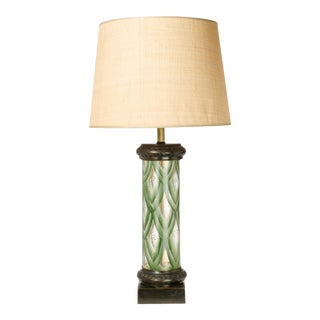 Hand Painted Glass & Bronze Table Lamp For Sale