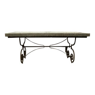 French Stone Table With Wrought Iron Base For Sale
