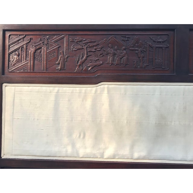Asian Antique Carved Asian Twin Headboard For Sale - Image 3 of 5