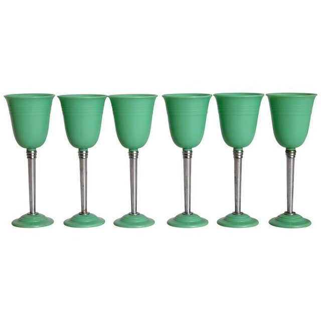 Machine Age Art Deco Nudawn Van Doren & Rideout Stemware Set for National Silver For Sale - Image 10 of 11