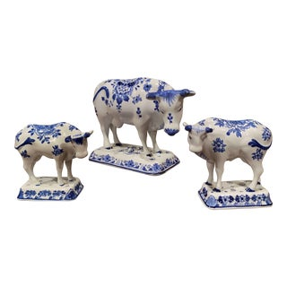 Midcentury Dutch Hand Painted Porcelain Delft Cows - Set of 3 For Sale