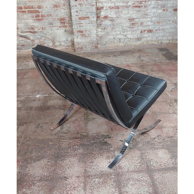 Barcelona Chairs -Beautiful Vintage Black Leather Seats -A Pair For Sale In Los Angeles - Image 6 of 11