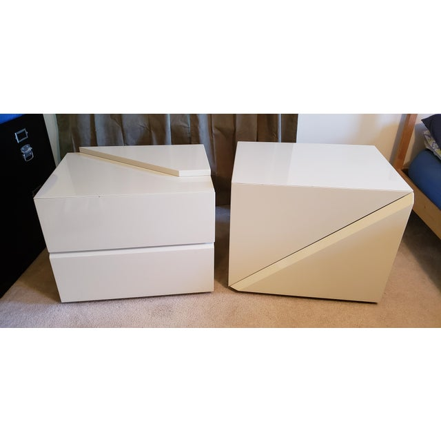 2 Cream colored End Tables by Rougier These are the end tables from the Platform bed and headboard set also listed.