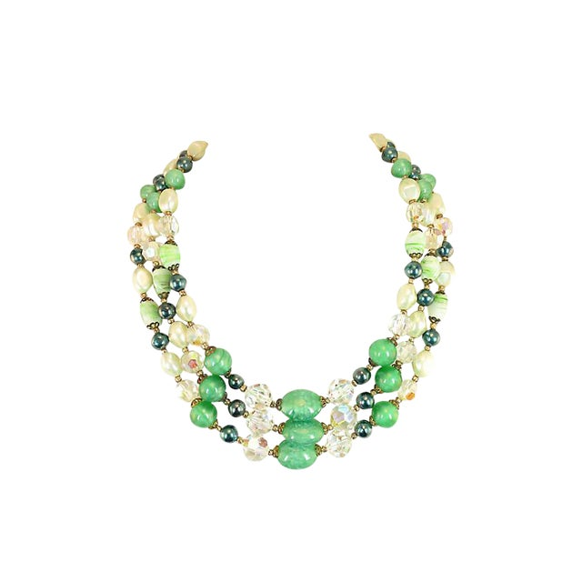 Austrian Crystal & Peking Glass Necklace, 1950s For Sale