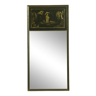 Casa Bisque Italian Brass Frame Chinoiserie Paint Decorator Mirror For Sale