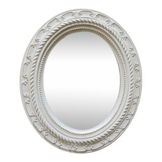 Contemporary Cream Carved Faux Wood Oval Mirror For Sale