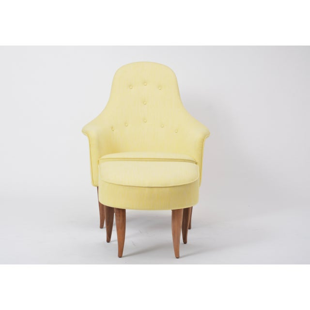 Yellow Large Adam' Reupholstered Lounge Chair With Ottoman by Kerstin Hörlin-Holmquist For Sale - Image 8 of 12