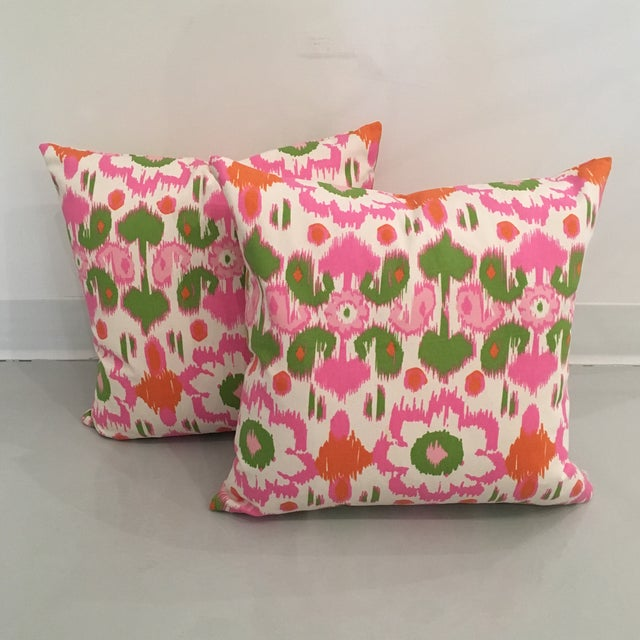 Pink, Orange & Green Ikat Pillows - A Pair For Sale - Image 6 of 6