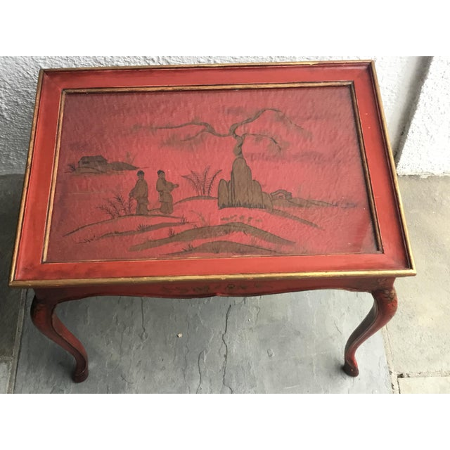 1950s Chinoiserie Red Hand Painted Coffee Table For Sale - Image 12 of 13