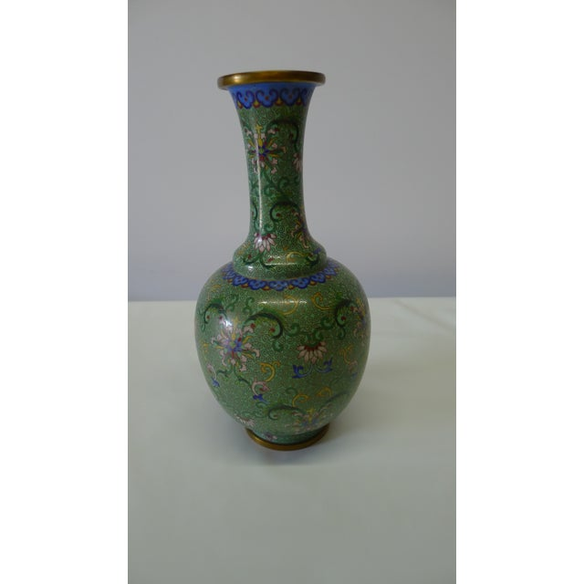Chinese Cloisonné vase primarily in green and with other colors. Unknown period, indicated to us as from late 19th - early...